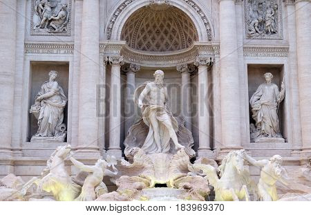 ROME, ITALY - SEPTEMBER 01: Trevi Fountain in Rome. Fontana di Trevi is one of the most famous landmark in Rome, Italy on September 01,2016.
