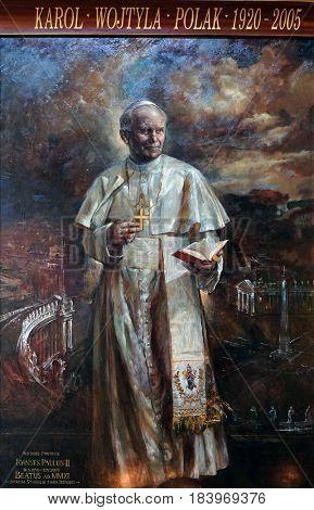 ROME, ITALY - SEPTEMBER 02: St. John Paul II by Natalia Tsarkova in Church of Santa Maria del Popolo, Rome, Italy on September 02, 2016.