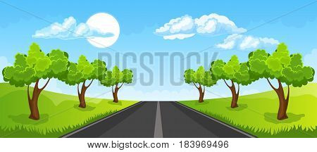 Cartoon illustration of the rural summer landscape with road