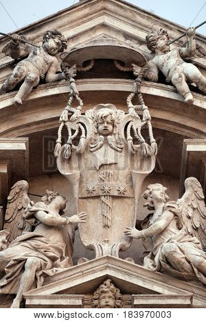 ROME, ITALY - SEPTEMBER 01: Angels, Church of Saints Vincent and Anastasius at Trevi in Rome, Italy on September 01,2016.