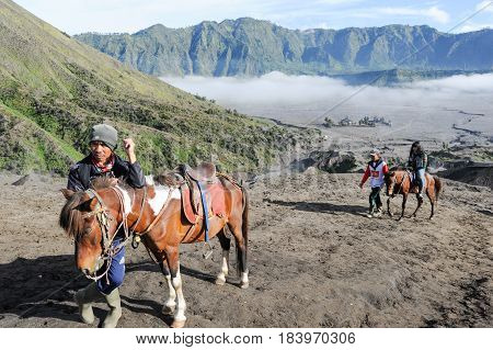Tourists Horse Rider On Mt.bromo National Park, Indonesia