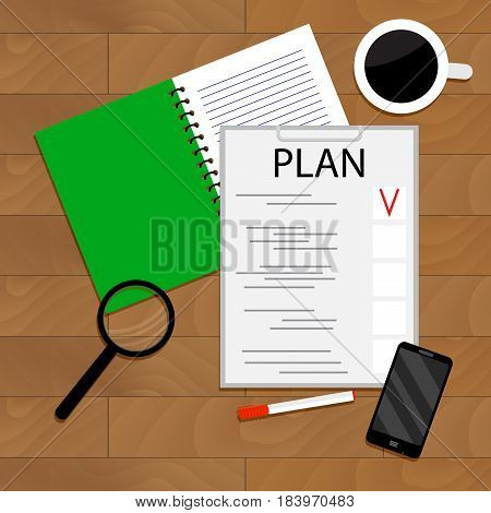 Morning Planning of Day. Vector day planner illustration of day plan schedule