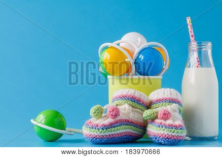 Milk Bottle With Straw And Baby Acessories