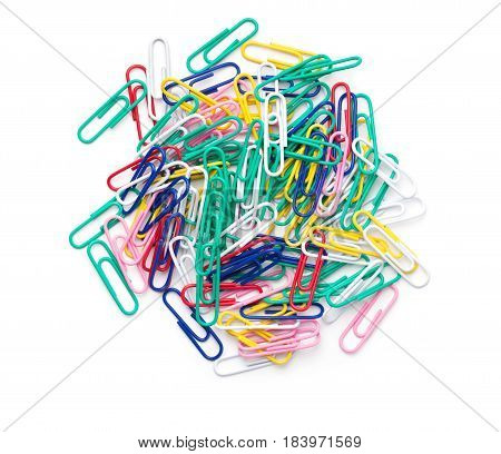 Paperclips isolated on white background. Top view