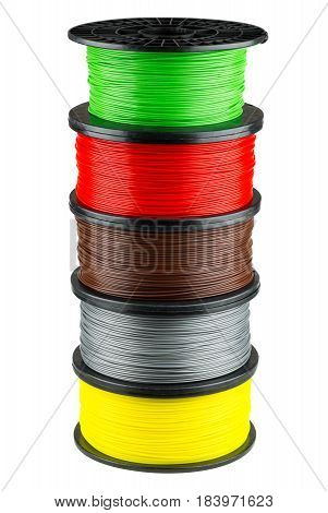 Five ABS or PLA filament coils for 3d print isolated on white background