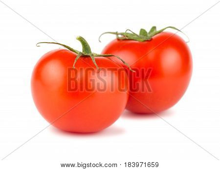 Pair of ripe red tomato white background