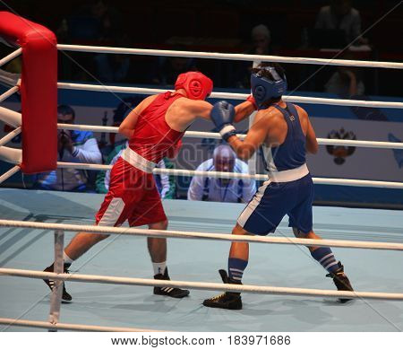 St. Petersburg Russia November 22 2016 Youth World Boxing Championship men. Boxing match attack