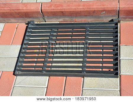 Stair case with metal protection from dirt and snow