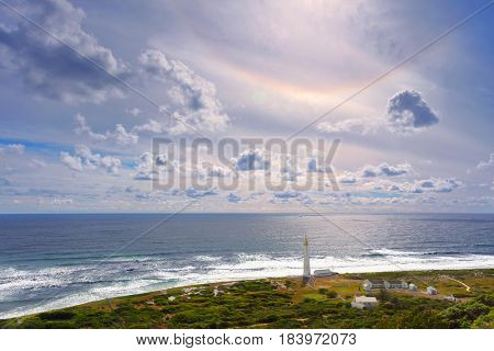 South Africa landscape, beacon on the Cape of Good Hope, famous touristic place, beautiful panorama of Atlantic Ocean