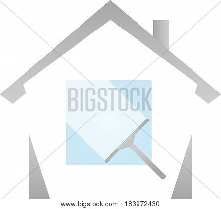 Window cleaner and house, window cleaning and cleaning company logo