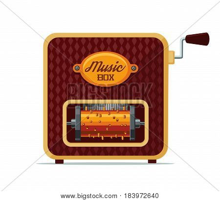 Retro clockwork music box with copper drum. Isolated on white.