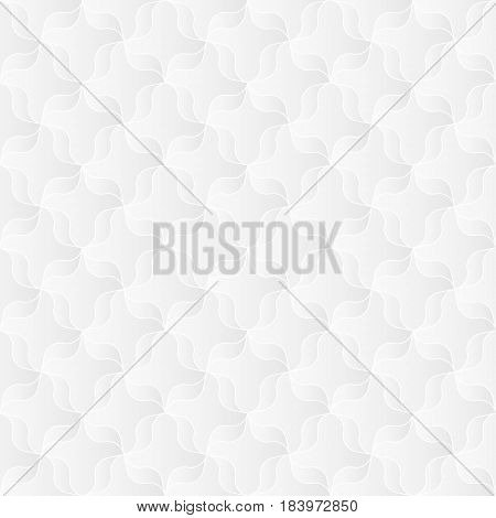 Neutral white texture. Abstract ribbon trellis background with 3d pleated paper effect. Vector seamless repeating pattern.