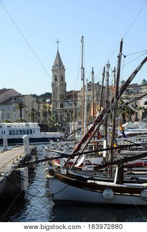 Sanary Village And Boats, French Riviera, France