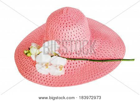 Pink summer hat and white orchid isolated on white