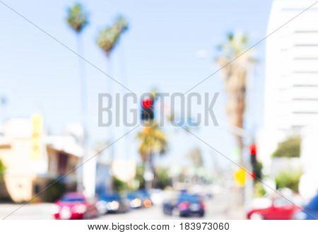 defocused cars and blue sky Hollywood Boulevard in los angeles city
