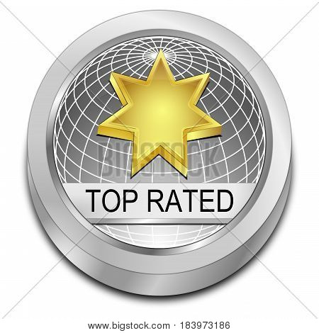 decorative silver Top Rated Button - 3D illustration