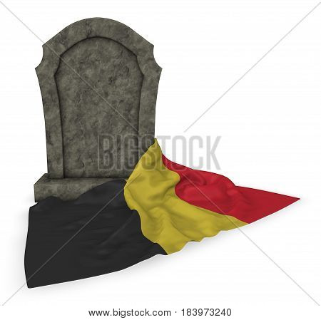 gravestone and flag of belgium - 3d rendering