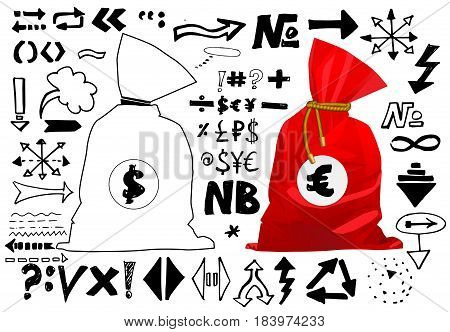 Doodle style sketch of a bag full of money finance and business. Vector illustration. Hand written arrows, lines and signs isolated on white background. Set of sketch doodle ready for your business.