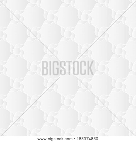 Neutral white geometric texture. Abstract oriental arabesque background with 3d effect.  Vector seamless repeating pattern.