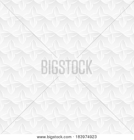 Neutral white texture. Abstract stylized floral background with 3d folded paped effect. Vector seamless repeating pattern.