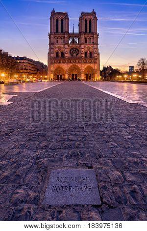 Notre Dame de Paris cathedral at sunrise. Ile de La Cite Parvis Notre Dame (Place Jean-Paul II) 4th Arrondissement Paris France