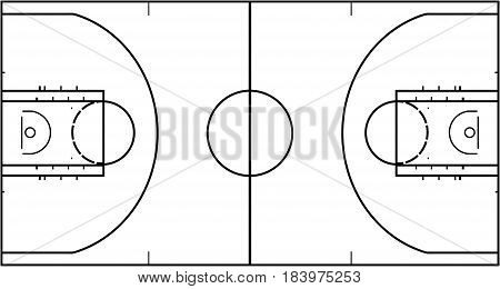Basketball court isolated on white background. Top view vector illustration