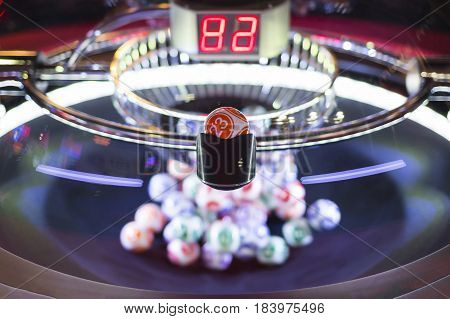 Colourful Lottery Balls In A Machine 23