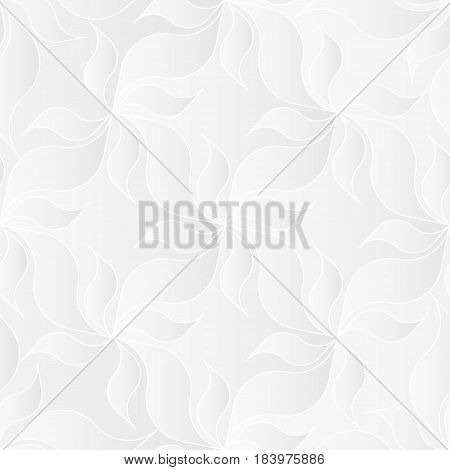 Neutral white texture. Decorative background with 3d pleated paper effect. Vector seamless repeating pattern with floral elements.