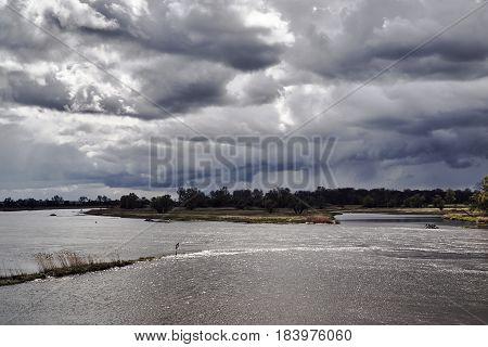 Oder floodplains on a rainy day in Poland