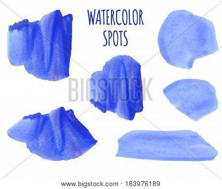 VECTOR set of colorful watercolor spots. Blue paint spots