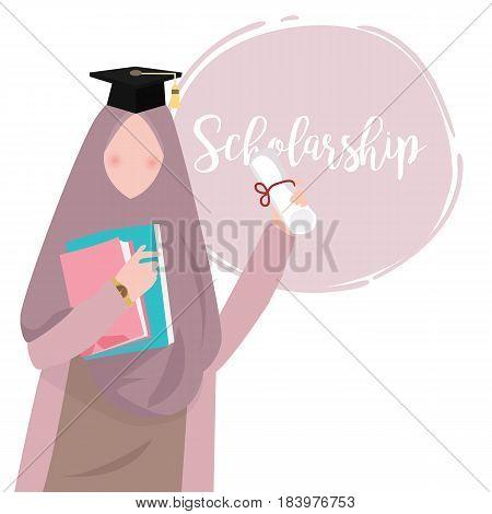 woman islam education wearing scarf graduation scholarship vector