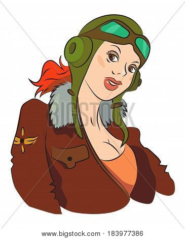 Cartoon image of air force woman. An artistic freehand picture.