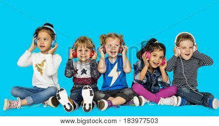 Children Smiling Happiness Music Headphones Leisure
