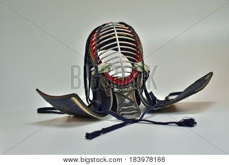 Kendo helmet close up isolate white background
