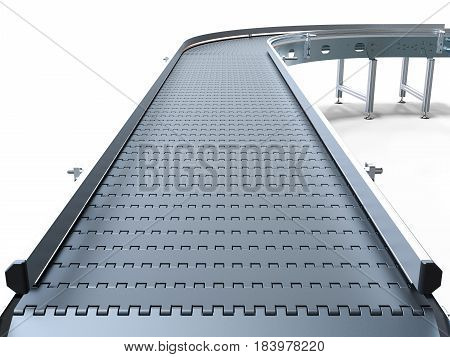 Empty conveyor belt on white background 3D rendering