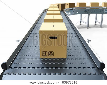 Cardboard boxes on conveyor belt white background 3D rendering