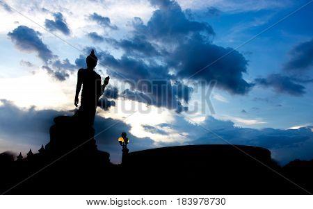 Silhouette of Buddha statue at Phutthamonthon Nakhon Pathom Thailand.