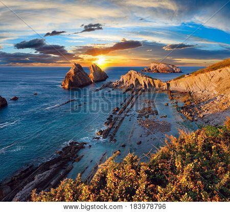 Arnia Beach Sunset Landscape.