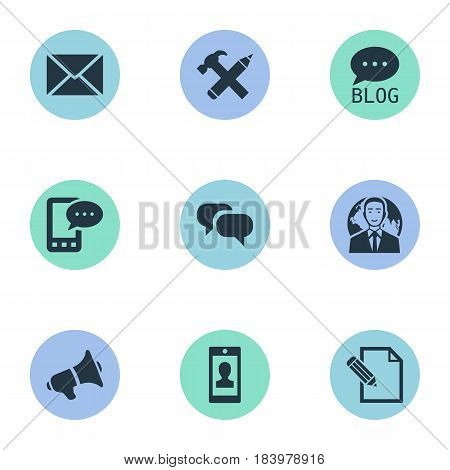 Vector Illustration Set Of Simple Blogging Icons. Elements Repair, Site, Loudspeaker And Other Synonyms Blog, Repair And Epistle.