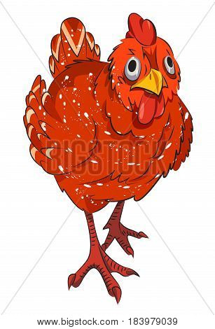 Cartoon image of chicken. An artistic freehand picture.
