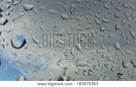 Rain water drops on blue.DROPS OF THE RAIN ON THE GLASS