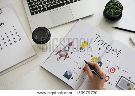 Business Venture Strategy Diagram Concept