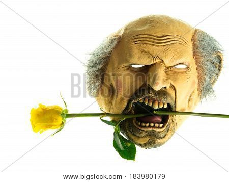 Spooky mask with yellow rose with white background