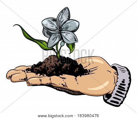Cartoon image of flower growing in palm of hand. An artistic freehand picture.