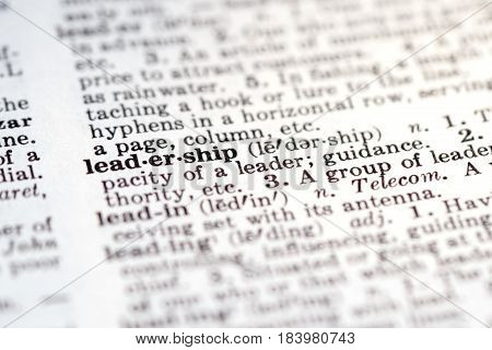 Definition of word leadership in dictionary selective focus