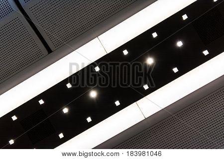 Abstract Subway Lights Black White Diagonal Train