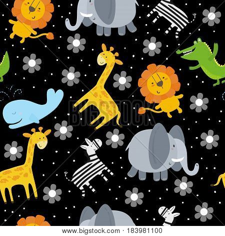 Cute hand drawn funny animals. Seamless pattern
