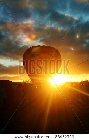 hot air ballon in the sunrise, boituva