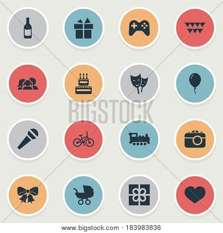 Vector Illustration Set Of Simple Celebration Icons. Elements Baby Carriage, Box, Speech And Other Synonyms Carriage, Gift And Mask.