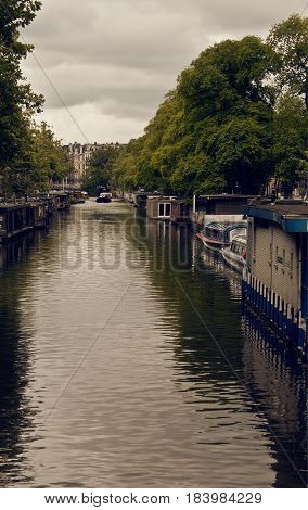 One of the many beautiful canals in Amsterdam.